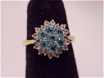 Click to view larger image of COSTUME JEWELRY - 14K GOLD ELECTROPLATE RING WITH TOPAZ BLUE RHINESTONES (Image1)