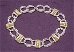 COSTUME JEWELRY - CHUNKY TWO TONE SILVER & GOLD CHOKER NECKLACE SIGNED NAPIER
