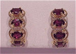Click to view larger image of COSTUME JEWELRY - GOLD FILLED AND GARNET RHINESTONE PIERCED EARRINGS (Image1)