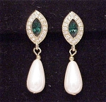 EMERALD GREEN AND CLEAR RHINESTONE AND PEARL PIERCED EARRINGS