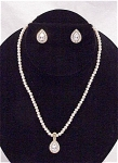 COSTUME JEWELRY - MONET PEARL & RHINESTONE CHOKER NECKLACE & PIERCED EARRINGS SET