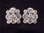 COSTUME JEWELRY - BRILLIANT CLEAR RHINESTONE PIERCED EARRINGS