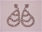 COSTUME JEWELRY - LARGE DANGLING CLEAR RHINESTONE PIERCED EARRINGS