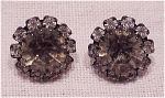 COSTUME JEWELRY - DARK GREY OR BLACK DIAMOND RHINESTONE PIERCED EARRINGS
