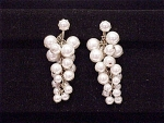 VINTAGE COSTUME JEWELRY  - LONG DANGLING PEARL CLUSTER CLIP EARRINGS