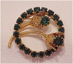 VINTAGE COSTUME JEWELRY - EMERALD GREEN RHINESTONE FLOWER BROOCH