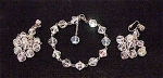 VINTAGE COSTUME JEWELRY - AURORA BOREALIS CRYSTAL BRACELET & CLIP EARRINGS SET