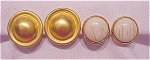 COSTUME JEWELRY - 2 PAIR GOLD TONE CLIP EARRINGS - 1 SIGNED GEORGIOU