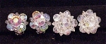 VINTAGE COSTUME JEWELRY - 2 PAIR OF AURORA BOREALIS CRYSTAL CLIP EARRINGS