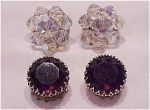 Click to view larger image of VINTAGE COSTUME JEWELRY - 2 PAIR OF CLIP EARRINGS - AB CRYSTAL, AMETHYST RHINESTONE (Image1)