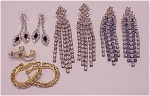 COSTUME JEWELRY - 5 PAIR OF RHINESTONE PIERCED EARRINGS - 3 DANGLING