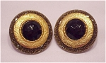 VINTAGE COSTUME JEWELRY - GOLD SPARKLE LUCITE & BLACK RHINESTONE CLIP EARRINGS SIGNED JORGEL