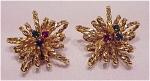 COSTUME JEWELRY - VINTAGE SIGNED AUSTRIA GOLD TONE & RHINESTONE CLIP EARRINGS