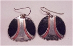 COSTUME JEWELRY - BLACK & PINK ENAMELSILVER TONE LAUREL BURCH PIERCED EARRINGS