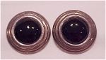 Click to view larger image of STERLING SILVER & BLACK ONYX PIERCED EARRINGS SIGNED IMA (Image1)