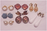 VINTAGE COSTUME JEWELRY - 8 PAIRS OF CLIP EARRINGS - STERLING SILVER, SIGNED, ENAMEL, RHINESTONE