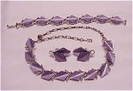 VINTAGE COSTUME JEWELRY - LAVENDER THERMOSET CHOKER, BRACELET & CLIP EARRINGS FULL PARURE SET