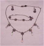 COSTUME JEWELRY - BELLAGIO CRYSTALS FULL PARURE - CHOKER NECKLACE , PIERCED EARRINGS AND BRACELET