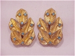 VINTAGE COSTUME JEWELRY - GOLD TONE WITH BLUE RHINESTONE CLIP EARRINGS SIGNED WEISS