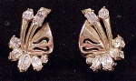 Click to view larger image of VINTAGE COSTUME JEWELRY - RHINESTONE CLIP EARRINGS SIGNED HOLLYCRAFT 1952 (Image1)