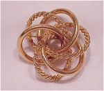 VINTAGE COSTUME JEWELRY - 12K GOLD FILLED TWO TONE 3-D CIRCLES BROOCH SIGNED BINDER BROS.