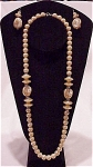 LONG FAUX PEARL NECKLACE AND MATCHING PIERCED EARRINGS SET