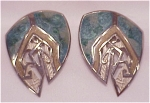 COSTUME JEWELRY - BLUE, GREY AND CREAM ENAMEL ON SILVER BEREBI  PIERCED EARRINGS