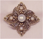 VINTAGE COSTUME JEWELRY - FAUX MOONSTONE, PEARL & RHINESTONE BROOCH SIGNED ART
