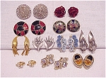 VINTAGE COSTUME JEWELRY - 11 PAIR OF CLIP EARRINGS - TRIFARI, CORO, KRAMER, RHINESTONES, ENAMEL