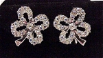 VINTAGE COSTUME JEWELRY - AURORA BOREALIS RHINESTONE 4 LEAF CLOVER CLIP EARRINGS