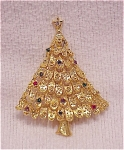 MULTI COLORED RHINESTONE CHRISTMAS TREE BROOCH