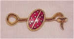 VINTAGE COSTUME JEWELRY - GOLD TONE HOOK AND EYE BROOCH WITH RED ENAMEL