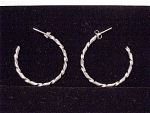 TWISTED STERLING SILVER HOOP PIERCED EARRINGS SIGNED DF