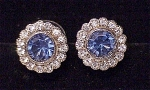 COSTUME JEWELRY - BEAUTIFUL BLUE AND CLEAR RHINESTONE PIERCED EARRINGS