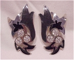 COSTUME JEWELRY - BLACK ENAMEL & RHINESTONE PIERCED EARRINGS SIGNED BEREBI