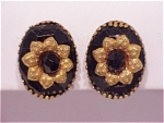VINTAGE COSTUME JEWELRY - BLACK FACETED GLASS & GOLD CLIP EARRINGS SIGNED HOBE'