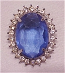 VINTAGE COSTUME JEWELRY - BLUE GLASS RHINESTONE COMBINATION BROOCH OR PENDANT