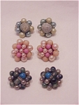 Click to view larger image of VINTAGE COSTUME JEWELRY - 3 PAIR OF PEARL & BEAD CLIP EARRINGS SIGNED JAPAN (Image1)