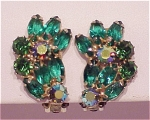VINTAGE COSTUME JEWELRY -  WEISS EMERALD GREEN NAVETTE RHINESTONE CLIP EARRINGS