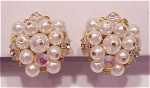 VINTAGE COSTUME JEWELRY - LAGUNA PEARL, RHINESTONE AND CRYSTAL CLIP EARRINGS