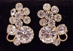 VINTAGE COSTUME JEWELRY - BRILLIANT CLEAR RHINESTONE CLIP EARRINGS