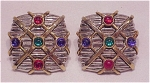 COSTUME JEWELRY - SILVER & GOLD TONE CLIP EARRINGS WITH GLASS CABACHONS