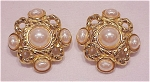 VINTAGE COSTUME JEWELRY - GIVENCHY LARGE GOLD TONE & MABE' PEARL CLIP EARRINGS