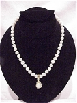COSTUME JEWELRY - REGENCY PEARL CHOKER NECKLACE WITH MABE' PEARL & RHINESTONE SLIDE