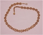 COSTUME JEWELRY - GOLD TONE & RHINESTONE CHOKER NECKLACE SIGNED NAPIER