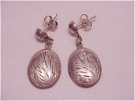 Click to view larger image of DANGLING STERLING SILVER PIERCED EARRINGS WITH ETCHED DESIGN (Image1)