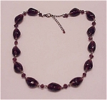 VINTAGE COSTUME JEWELRY - DARK AMETHYST GLASS BEAD CHOKER NECKLACE