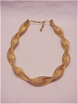 VINTAGE COSTUME JEWELRY - TWISTED MATTE GOLD TONE MESH CHOKER NECKLACE