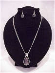 COSTUME JEWELRY - GREY FAUX CAT'S EYE STONE CHOKER NECKLACE & PIERCED EARRINGS SIGNED KC