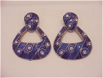 COSTUMEJEWELRY - LARGE BEREBI BLUE ENAMEL & RHINESTONE  PIERCED EARRINGS